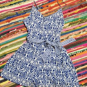 American Eagle Aztec Blue and White Romper